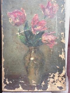 Tulipes - état initial (larges manques de peinture)