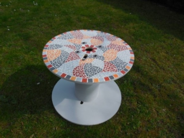 Table bobine orange gris